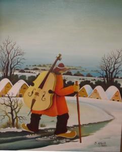 Maľba Jána Glózika Muzikant