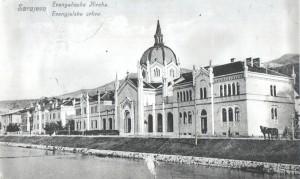 Evanjelický chrám v Sarajeve na nábreží Miljacky