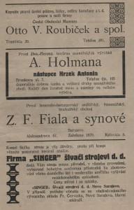 Inzeráty v brožúrke výročnej správy Československej obce v Sarajeve