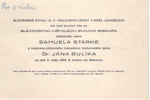 Pozvánka na inštaláciu biskupa Štarkeho a synodálneho dozorcu Bulíka
