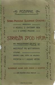Prvá zachovaná pozvánka na divadelné predstavenie v Pazove