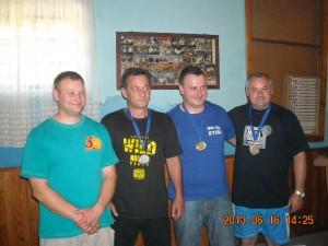 Traja najlepší seniori s predsedom SK Tatra: Marián Martiš, Pavel Chrťan, Janko Francisty a Miloslav Chrťan (zľava)