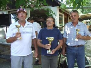 Najlepší kuchári: zľava Michal Ferko-Aťko (2. miesto), Jaroslav Valent-Saler (víťaz), Đura Tamaši (3. miesto)