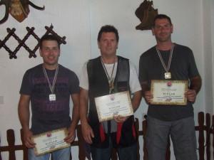 Najlepší strelci: zľava Goran Delić (2. miesto), József Varga (1. miesto), Dušan Radić (3. miesto)