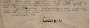 Časť listu L. Zgútha adresovaného na VHV do Pazovy